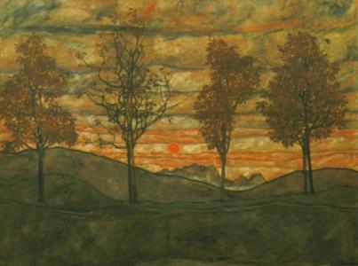 Schiele Wald Gemälde